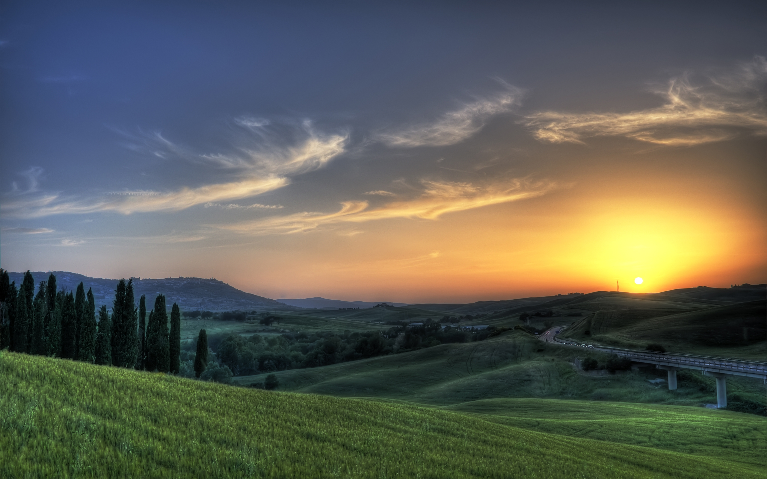 Tuscany Italy Sunset Wallpaper