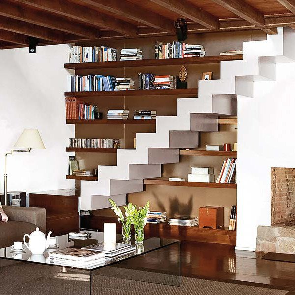 Modern Staircase Storage Ideas in Living Room