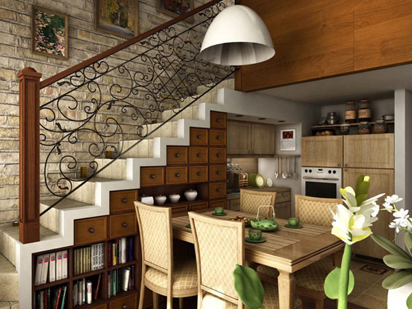 Rustic Staircase Storage Design Ideas