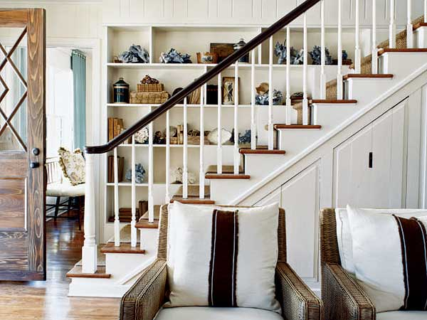 Rustic Staircase Storage Ideas