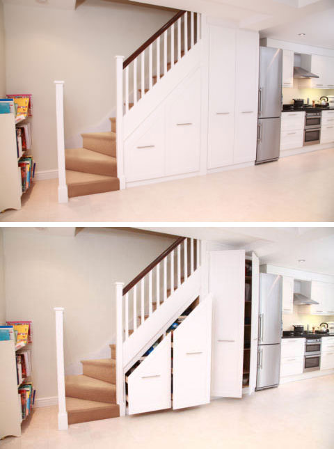 Soft Color Staircase Storage Design Ideas Under Stairs