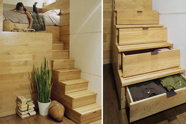 Wooden Bedroom Staircase Storage Ideas
