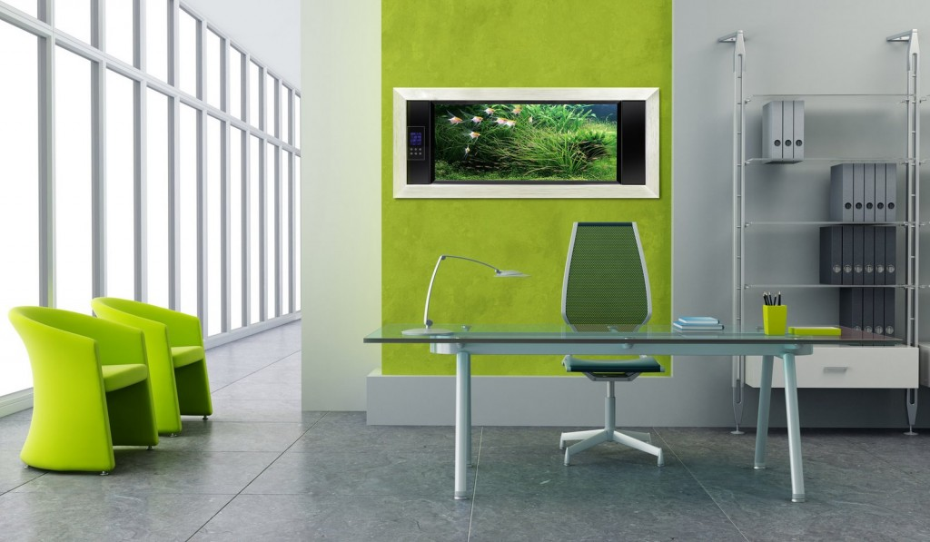 Beautiful Fresh Green Home Office Design