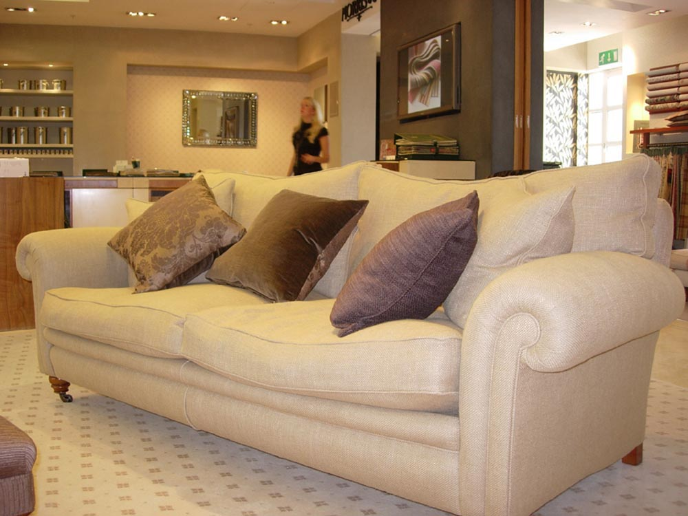 Elegant Sofa with Cushions in Living Room