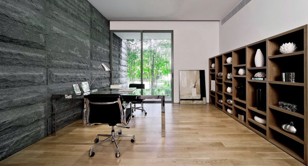 Modern Home Office Design with Black Stone Walls