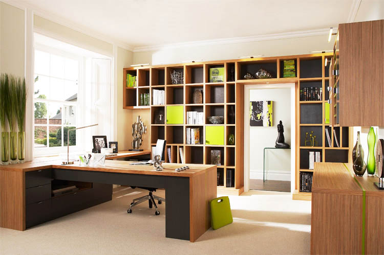 Modern Home Office Design with Woode Cabinets