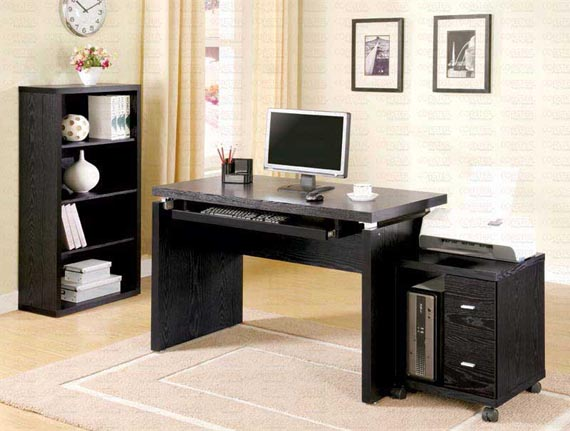Simple Elegant Home Office Design Ideas with Black Furniture