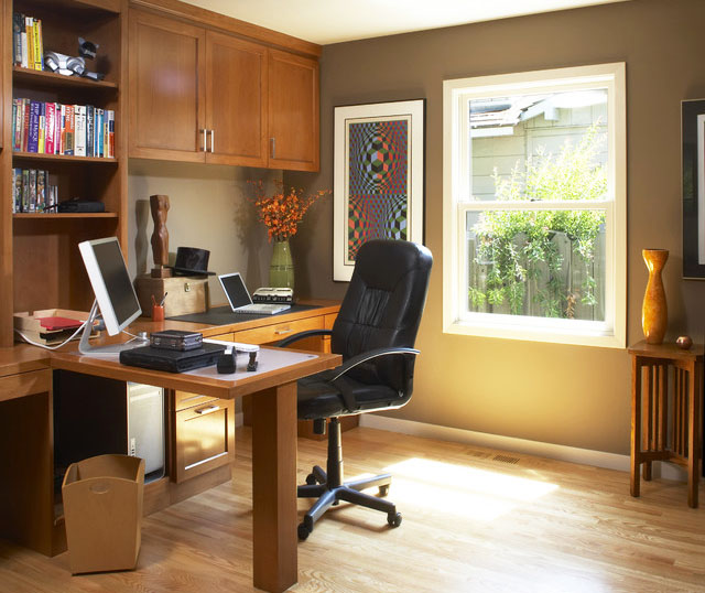 Simple Home Office Design with Wooden Furniture