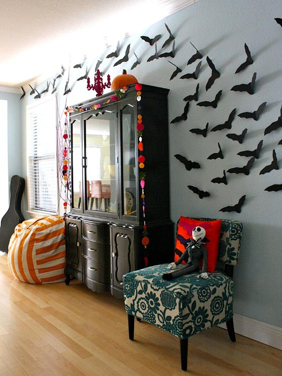 34 Halloween Home Decore Ideas InspirationSeekcom : Halloween Home Decor Ideas with DIY Bat Craft Mounted on The Wall from inspirationseek.com size 560 x 746 jpeg 100kB