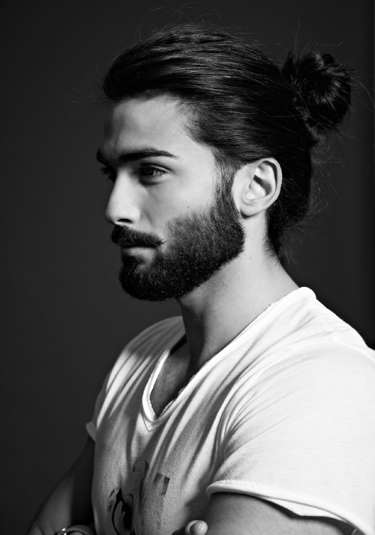 Man Bun Hairstyle Ideas with Beard and Mustache